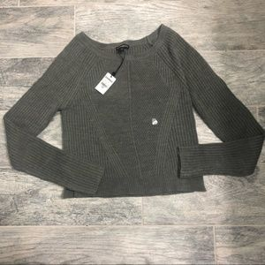 Express Gray Cropped Sweater - S